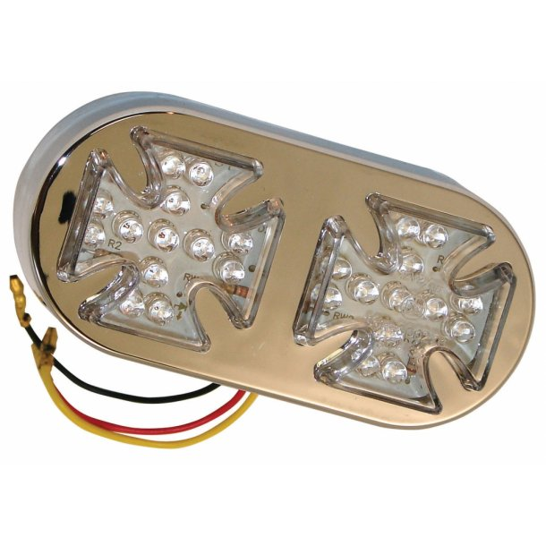 Dobbelt Malteser Kors MC LED Baglygte