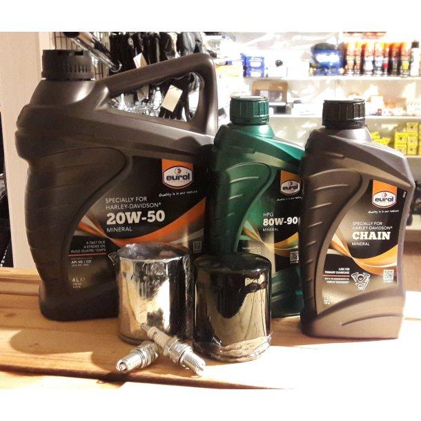 4 L Eurol Harley Davidson MC olie incl. Gearolie eller Primær olie, Oliefilter og Tændrør
