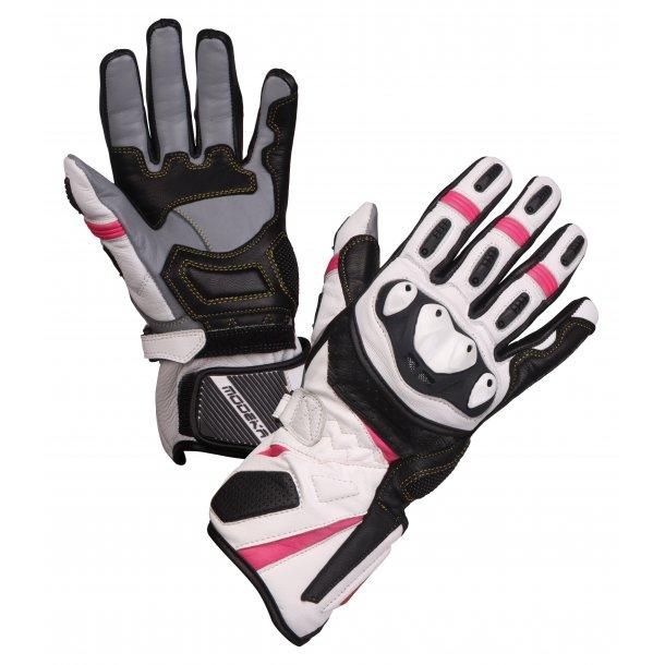 Modeka Cay MC Handske Hvid/Pink