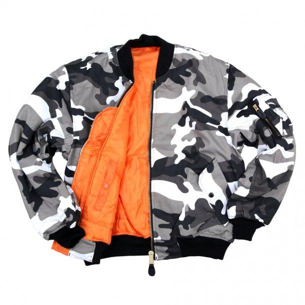 Pilot/Bomber MC jakke -Camouflage Grå
