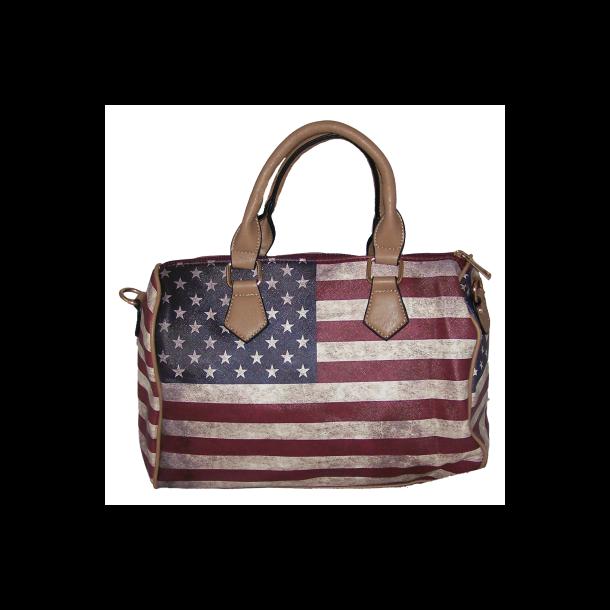 Taske ,med USA Flag - Brun