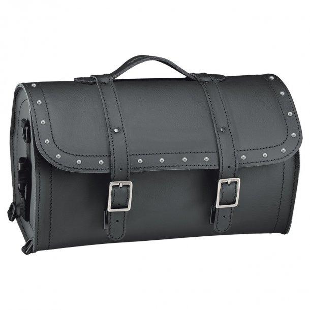 Held Cruiser Barrel Bag MC Læder Rulletaske med Nitter