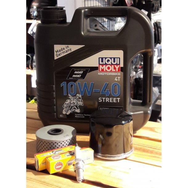 Liqui Moly Semi-syntetisk MC olie 10w40 -4 L incl. Oliefilter og 2 stk. Tændrør
