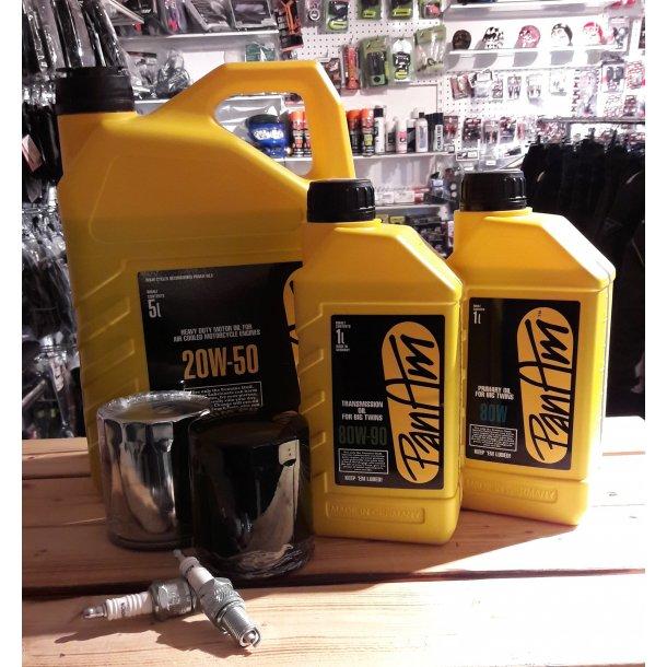 5 L PanAm MC Motorolie til Harley Davidson incl. Oliefilter, Gear- , Primærolie og 2 tændrør