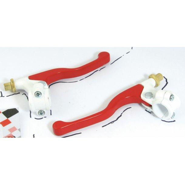 Korte bremse og koblingsgreb i rød/hvid