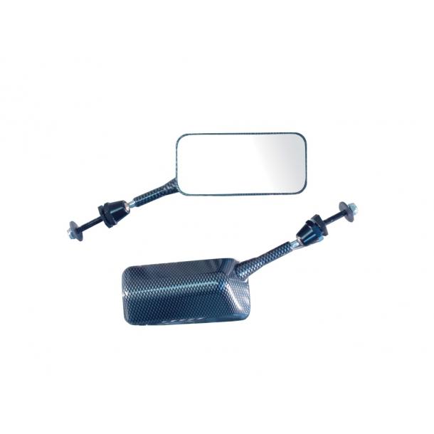 F1 Universal MC spejl - Carbon look - Kort eller Lang Stilk